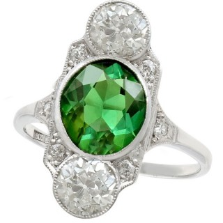 2.59 ct Tourmaline and 1.95 ct Diamond, 18 ct White Gold Cocktail Ring - Antique Circa 1900