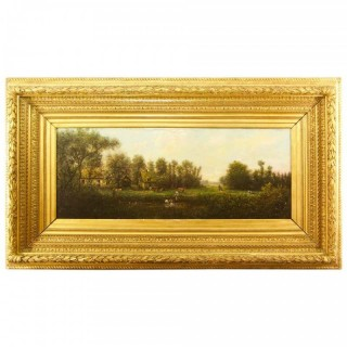"Barbizon School/circle of Jules Dupré ( 1811-1889):Painting ""Hamlet at a River"", Mid 19th Century"