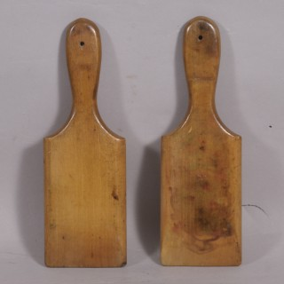 Antique Treen 19th Century Pair of Sycamore Butter Hands
