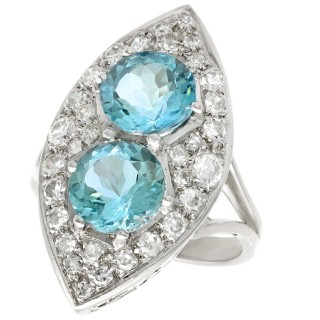 3.03ct Aquamarine and 1.42ct Diamond, 18ct White Gold Marquise Ring - Vintage French Circa 1950