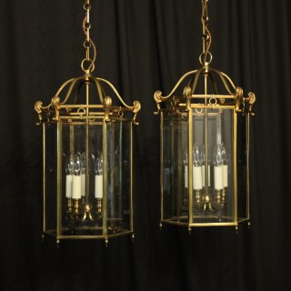 French Pair Of Gilded Antique Hall Lanterns