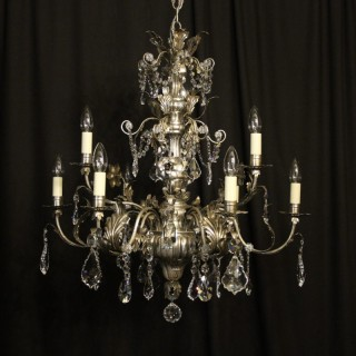 Italian Silver & Crystal Genoa 9 Light Chandelier