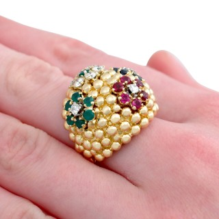 0.88 ct Ruby, Sapphire and Emerald, 0.93 ct Diamond and 18 ct Yellow Gold Dress Ring - Vintage Circa 1980