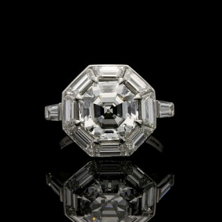 Hancocks 3.02ct Octagonal Step-cut Geometric Diamond Platinum Ring