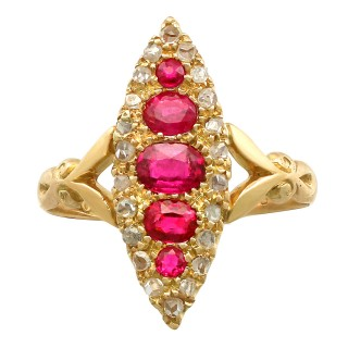0.75 ct Ruby and 0.19 ct Diamond, 18 ct Yellow Gold Marquise Ring - Antique 1906