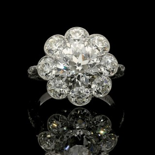 Hancocks Old European Brilliant Cut Diamond Cluster Platinum Ring