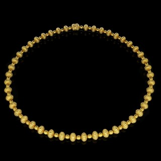 Ilias Lalaounis Long Gold  Alternating Spherical and Fluted Beads Necklace