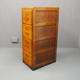 Large Oak 4 Drawer Filing Cabinet