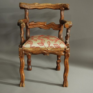 Rare & unusual mid 19th century elm rustic carved armchair