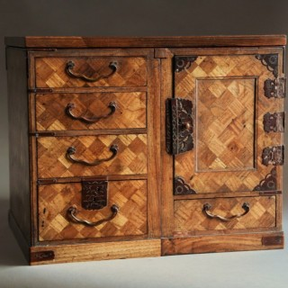 Late 19th century Japanese Meiji parquetry scholars box