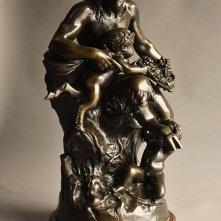 Large 19thc French bronze group of a Satyr & two fauns, After Claude Michel Clodian