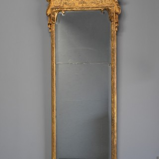 Large early 18thc rare George I giltwood & gesso pier mirror, in the manner of John Belchier