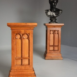 Pair of 19th century ash pedestals in the Gothic style of good patina