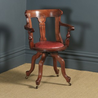 Antique English Victorian Walnut & Burgundy Red Leather Office Desk Arm Chair (Circa 1880)