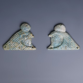 Egyptian Pair Of Faience Horus Terminals