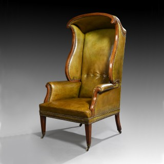 19th Century Mahogany Leather Upholstered Hall Porters Chair