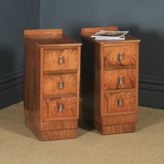Antique English Pair of Art Deco Figured Walnut Bedside Chests / Tables (Circa 1930)