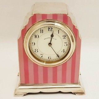 Silver and Enamel Mantel Clock