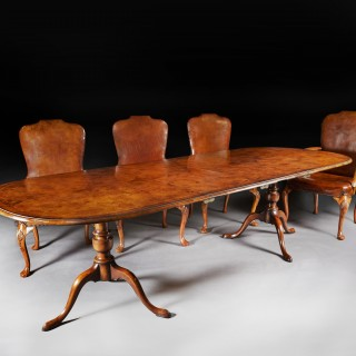 Antique Early 20th Century Walnut Dining Table Set with 8 Leather Chairs
