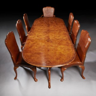 Good 1930's 9Ft Burr Walnut Twin Pedestal Extending Two Leaf Dining Table