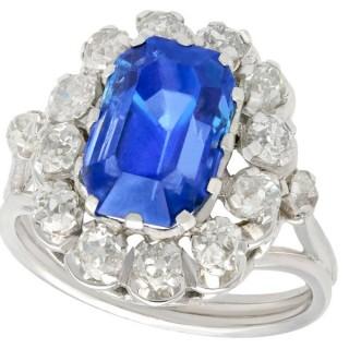 6.53 ct Sapphire and 0.88 ct Diamond, 18 ct White Gold Dress Ring - Vintage Circa 1960
