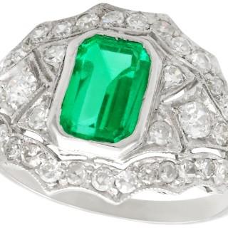 1.49ct Emerald and 1.15ct Diamond, Platinum Dress Ring - Vintage Circa 1950