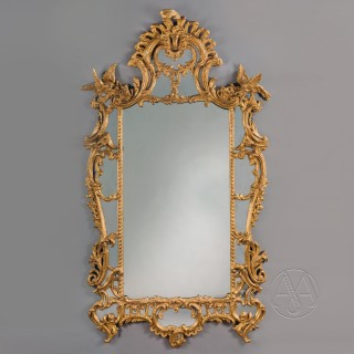 A George III Style Carved Giltwood Mirror In The Rococo Manner of Thomas Chippendale
