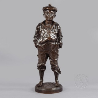 'Le Mousse Siffleur'  A Patinated Bronze Figure of a Boy  by Victor Szczeblewski