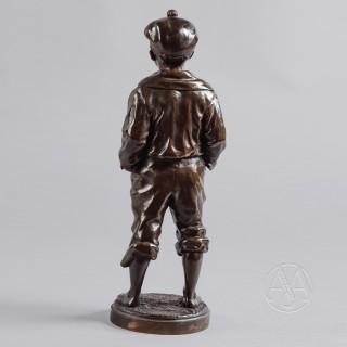 'Le Mousse Siffleur'  A Patinated Bronze Figure of a Boy  by Victor Szczeblewski