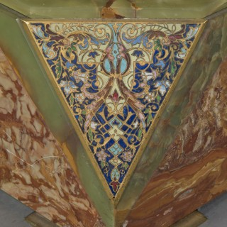 A Pair of Gilt-Bronze and Champlevé Enamel Mounted Green Onyx and Rose de Valence Marble Pedestals