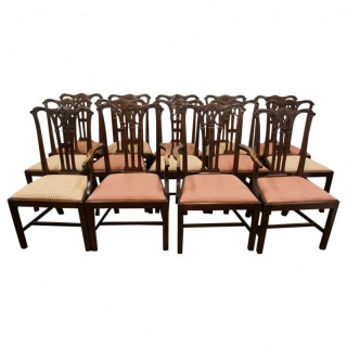 Set of 14 Chippendale Style Mahogany Dining Chairs