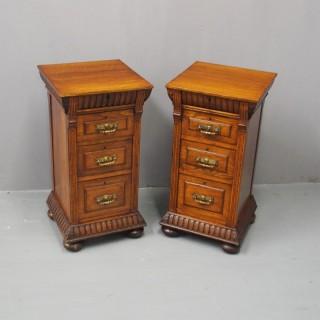 Pair of Carved Oak Pedestals or Bedsides