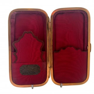 Antique Victorian Tortoiseshell with Silver & Gold Pique Cigar Case 1850