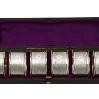 Sterling Silver Numbered Napkin Rings Set of Six - Antique Victorian (1869)