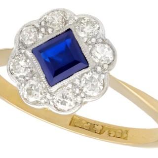 0.42ct Sapphire and 0.32ct Diamond, 18ct Yellow Gold Dress Ring - Antique Circa 1910