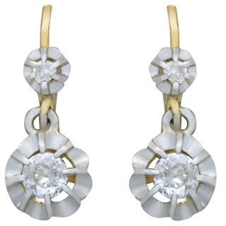 0.41ct Diamond and 18ct Yellow Gold Drop Earrings - Antique French Circa 1930