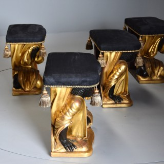 Extremely rare & highly decorative 19thc set of four Venetian carved giltwood stools