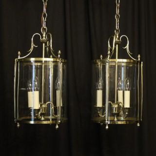 French Pair Of Brass Convex Hall Lanterns