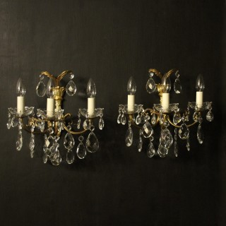 French Pair Of Gilt & Crystal Antique Wall Lights