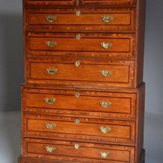 Late 18th/early 19th century oak chest on chest with superb patina
