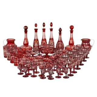 Very large suite of Bohemian glass