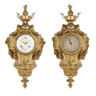 Neoclassical gilt bronze clock and barometer set by Maison Mottheau