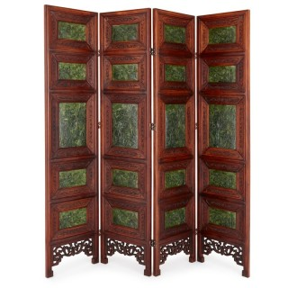 Chinese hardwood and nephrite screen