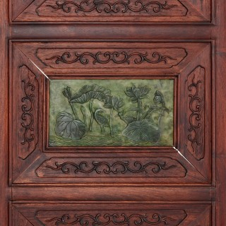 Chinese hardwood and nephrite screen