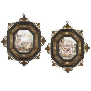 Pair of Italian Capodimonte painted porcelain plaques