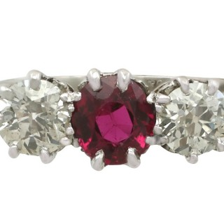 1.23 ct Ruby and 1.25 ct Diamond, 18 ct White Gold and Platinum Set Trilogy Ring - Vintage Circa 1940