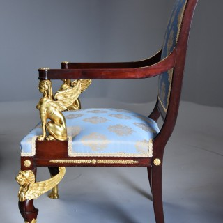 Late 19thc English set of four mahogany chairs in the French Empire style with superb ormolu mounts