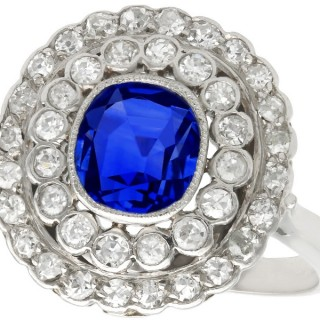 1.90ct Sapphire and 1.10ct Diamond, 18ct White Gold Cluster Ring - Antique French Circa 1925