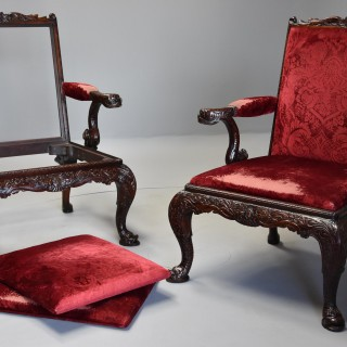 Exceptional pair of late 19th century George II style mahogany Gainsborough open armchairs
