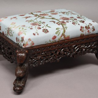 Late 19th century hardwood Anglo Indian footstool